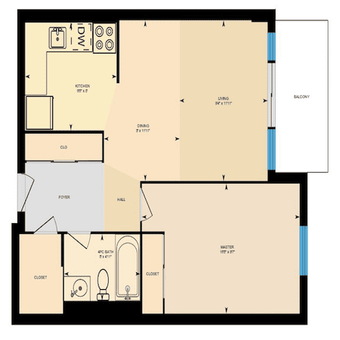 1 bedroom 1 bathroom floorplan